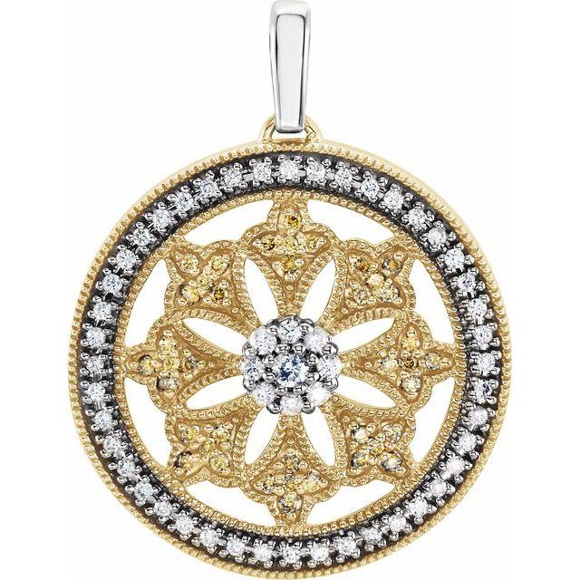 14K Yellow 1/2 CTW Diamond Ferris Wheel Pendant with Rhodium Plating