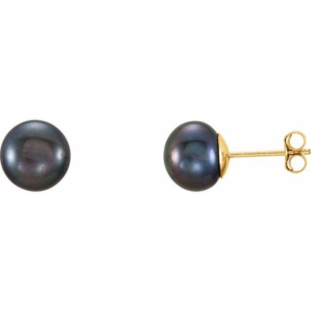 14K Yellow 7-8 mm Black Freshwater Cultured Pearl l Earrings
