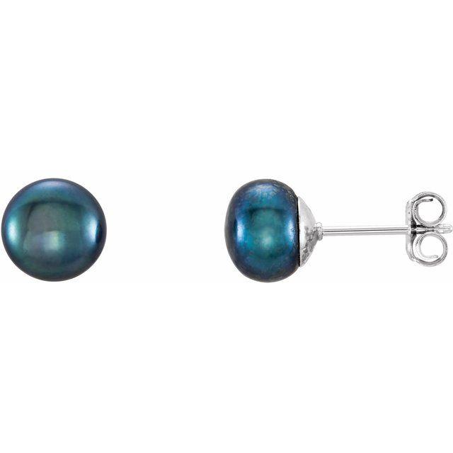 Sterling Silver 7-8 mm Black Freshwater Cultured Pearl Earrings
