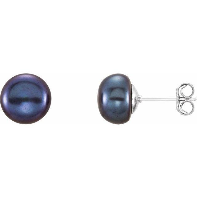 Sterling Silver 8-9 mm Black Freshwater Cultured Pearl Earrings
