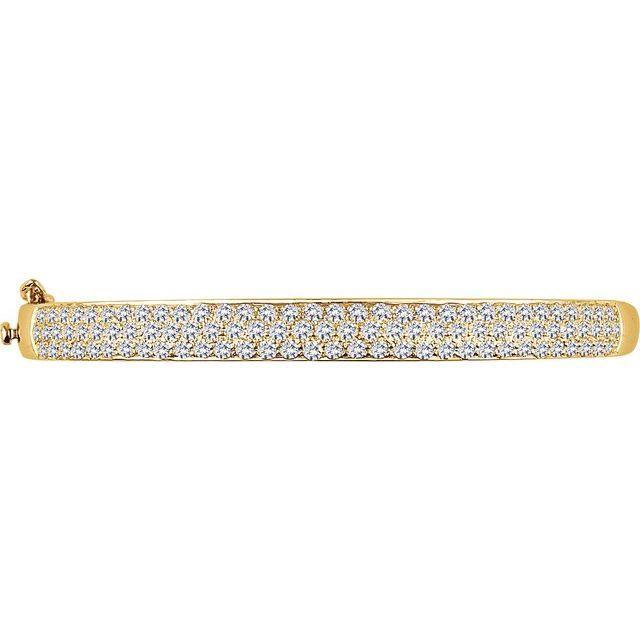 14K Yellow 3 CTW Natural Diamond Pave- Bangle 7