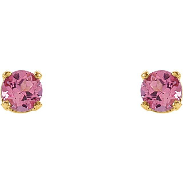 14K Yellow 3 mm Round Imitation Pink Tourmaline Youth Birthstone Earrings