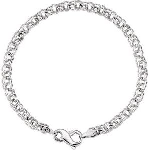 14K White Solid Double Link Charm Bracelet