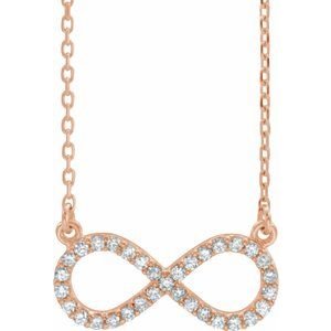 "14K Rose 1/8 CTW Diamond Infinity 16 1/2"" Necklace"