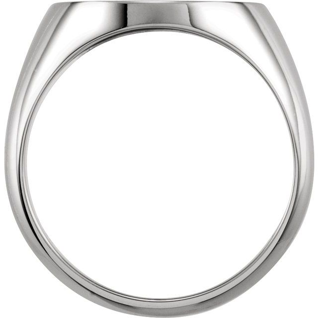 10K White 18x16 mm Oval Signet Ring