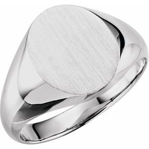 14K White 14x12 mm Oval Signet Ring