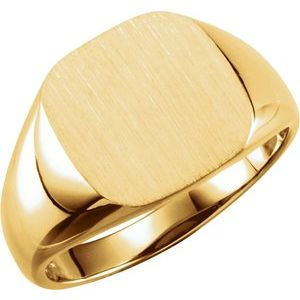 14K Yellow 11 mm Square Signet Ring