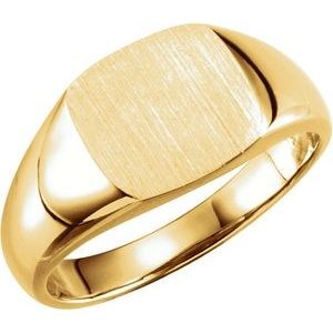 14K Yellow 9 mm Square Signet Ring