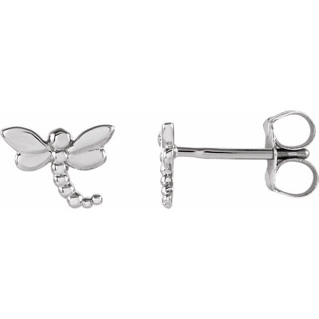 14K White 7.5x6 mm Dragonfly Earrings