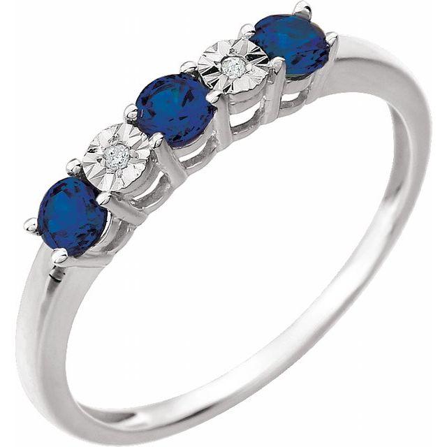 14K White Created Blue Sapphire & .01 CTW Diamond Ring