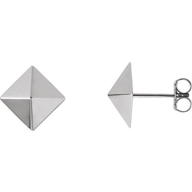 14K White Pyramid Earrings