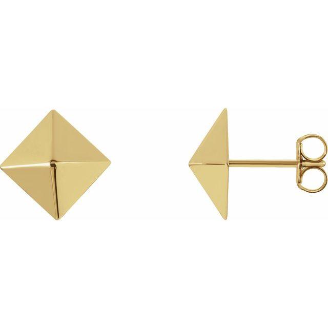 14K Yellow Pyramid Earrings