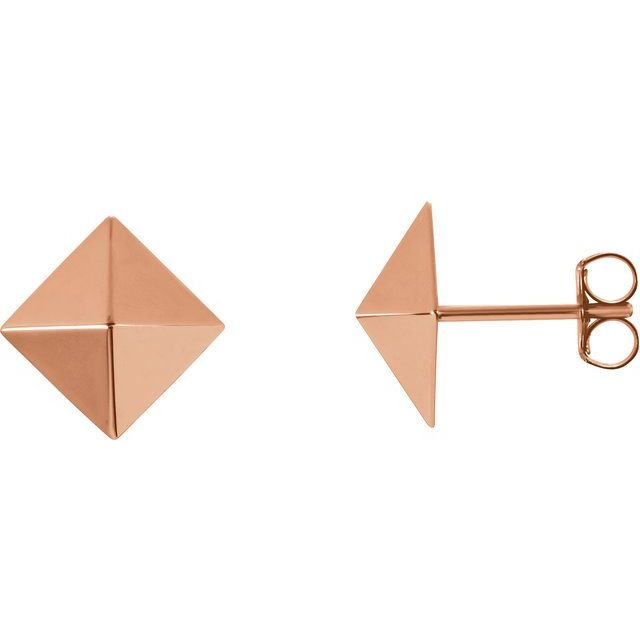 14K Rose Pyramid Earrings