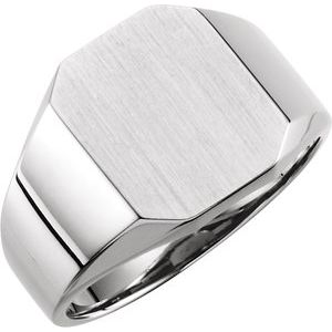 Sterling Silver 16x14 mm Octagon Signet Ring