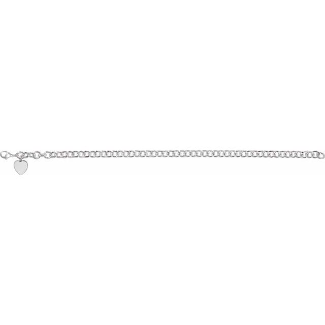 Sterling Silver Heart Charm Cable 7.5