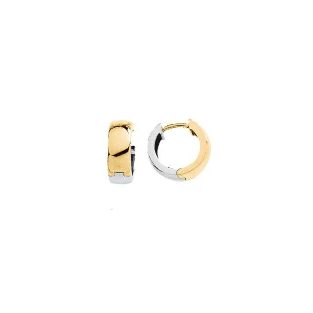 14K Yellow & White 14 mm Hinged Earrings