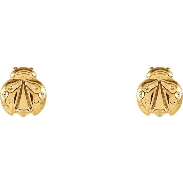 14K Yellow Ladybug Earrings