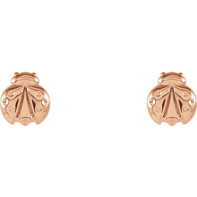 14K Rose Ladybug Earrings