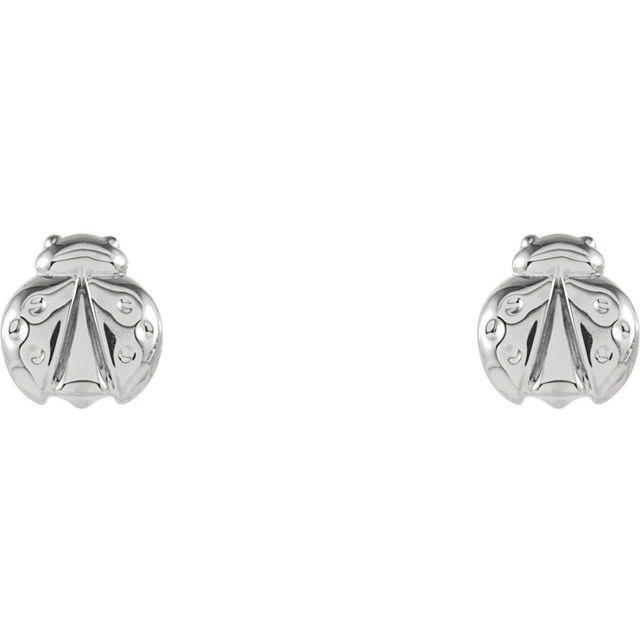 14K White Ladybug Earrings