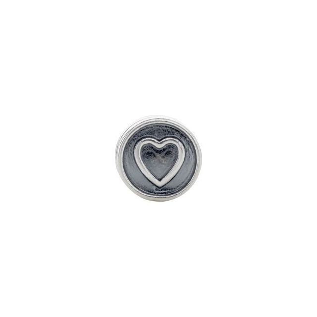 Sterling Silver 10.5x7.25 mm Heart Cylinder Bead