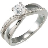 Accented Engagement Ring Base or Band