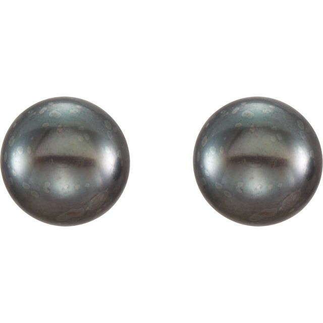 14K Yellow 6-7 mm Cultured Black Freshwater Pearl Earrings