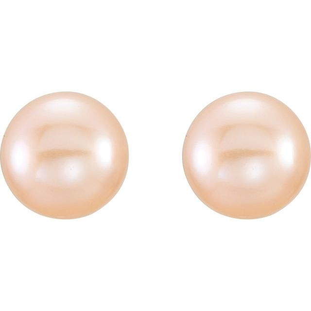 14K Yellow 6-7 mm Pink Freshwater Cultured Pearl Earrings