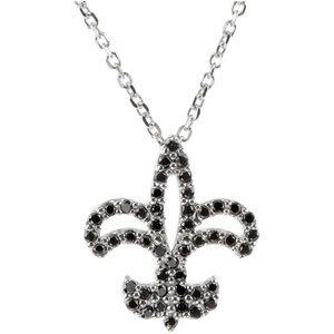"""14K White 1/4 CTW Black Diamond Fleur-de-Lis 16"""" Necklace"""
