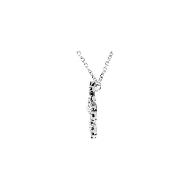 14K White 1/4 CTW Black Diamond Fleur-de-Lis 16