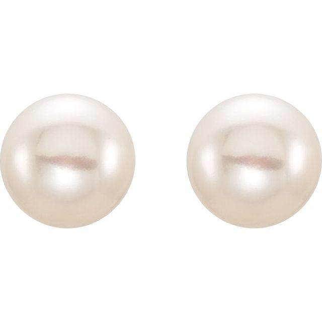 14K Yellow 8-9 mm White Freshwater Cultured Pearl Earrings