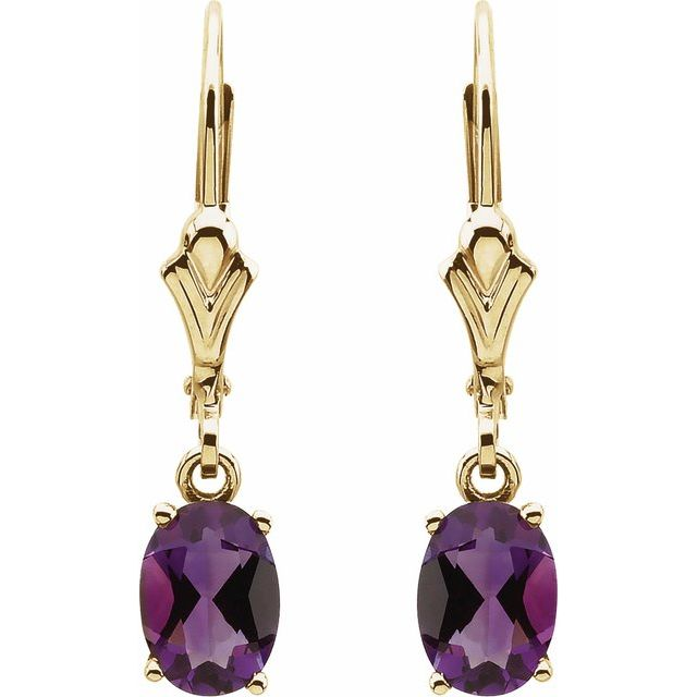 14K Yellow Amethyst Earrings