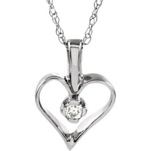 "14K White .03 CTW Diamond Heart 18"" Necklace"