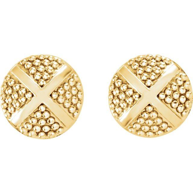 14K Yellow Granulated X Earrings