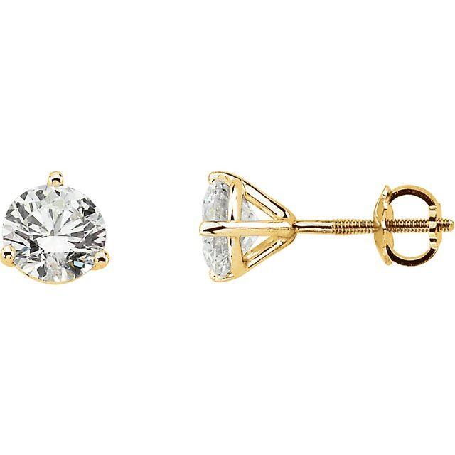 14K Yellow 3/4 CTW Diamond Stud Earrings