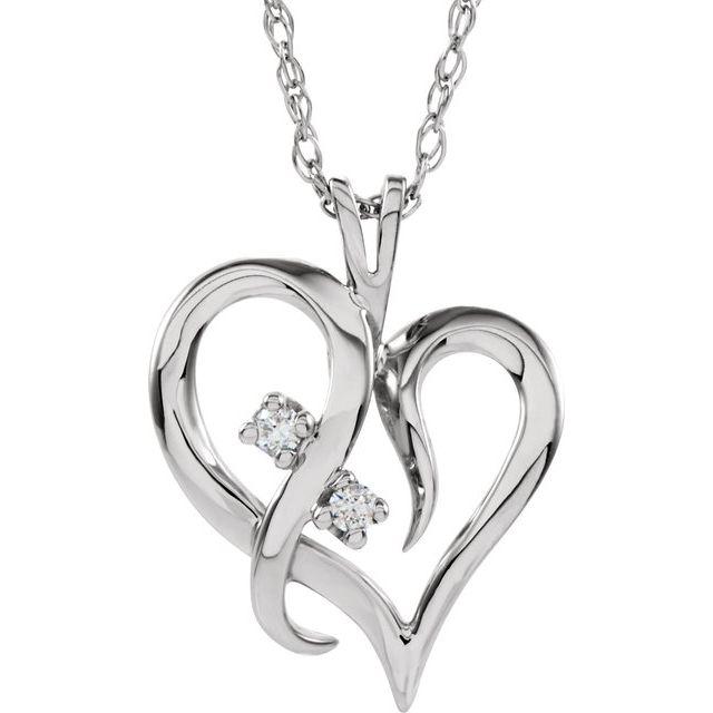 14K White .03 CTW Diamond Heart 18
