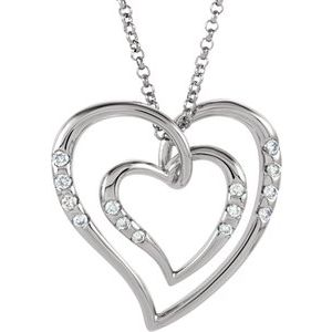 "14K White 1/10 CTW Diamond Heart 18"" Necklace"