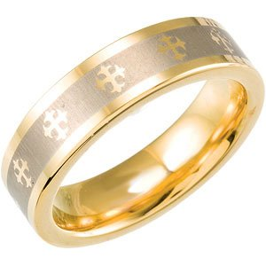 Tungsten & Gold Immersion Plated 6.3 mm Flat Band with Lasered Crosses Size 6