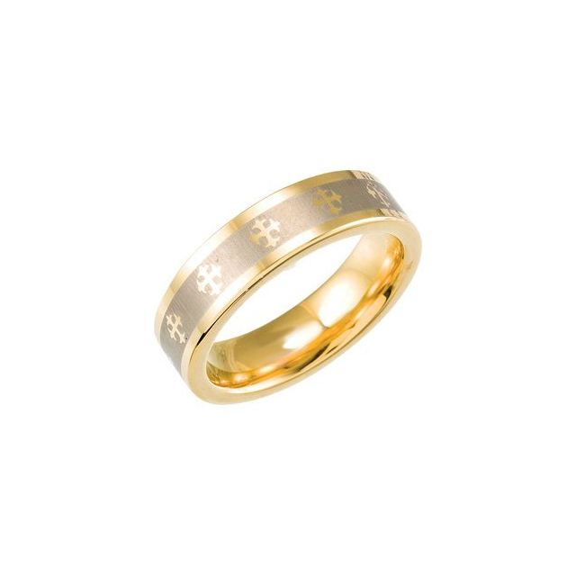 Tungsten & Gold Immersion Plated 6.3 mm Flat Band with Lasered Crosses Size 9.5