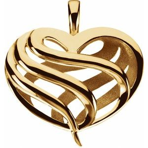 14K Yellow 28x25.5 mm Two Sided Heart Pendant