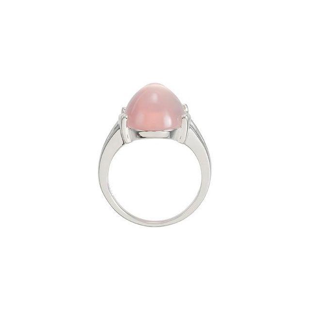 Sterling Silver Rose Quartz Cabochon Ring