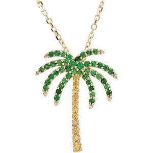 "14K Yellow Tsavorite Garnet & Yellow Sapphire Palm Tree 18"" Necklace"
