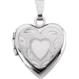 14K White 17.50x14.75 mm Heart Locket
