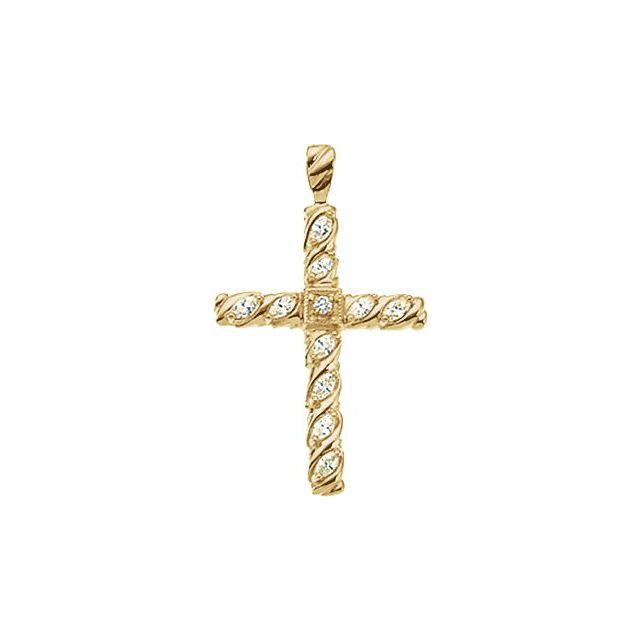 14K Yellow 35.5x25.5 mm 3/4 CTW Diamond Cross Pendant