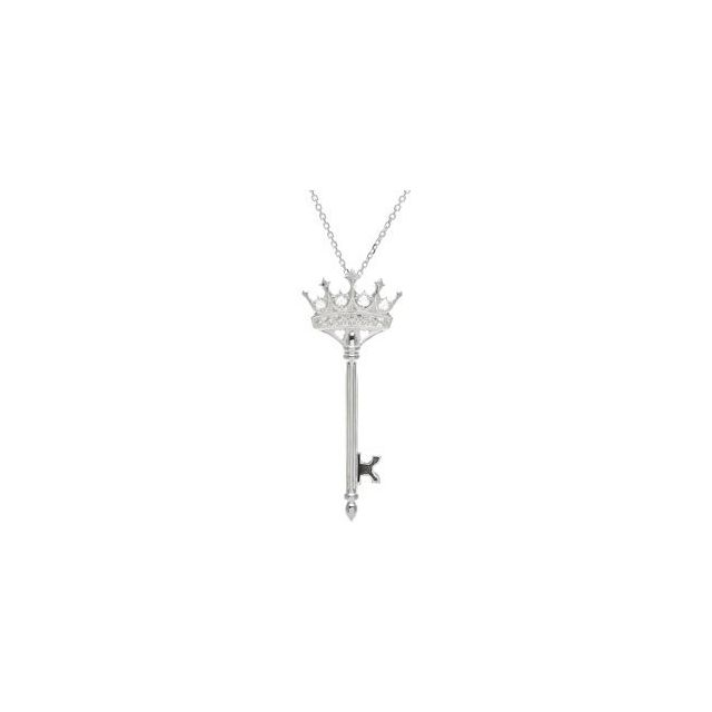 Sterling Silver 1/10 CTW Diamond Crown Key 18
