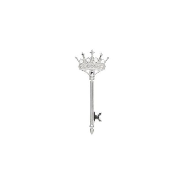 Sterling Silver 1/10 CTW Diamond Crown Key Pendant