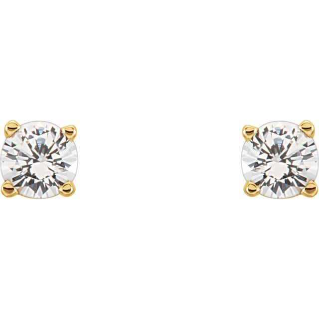 14K Yellow 3 mm Round Imitation Diamond Youth Birthstone Earrings