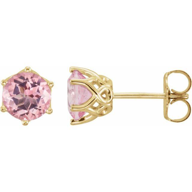 14K Yellow Pink Morganite Earrings