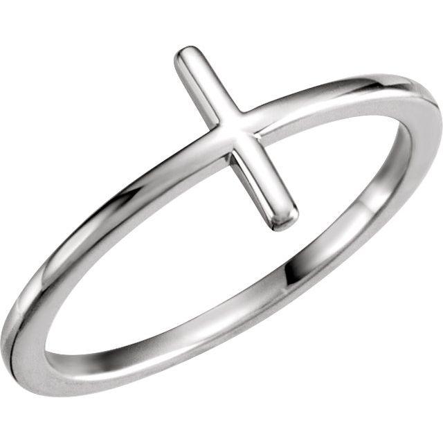 Sterling Silver Side Cross Ring