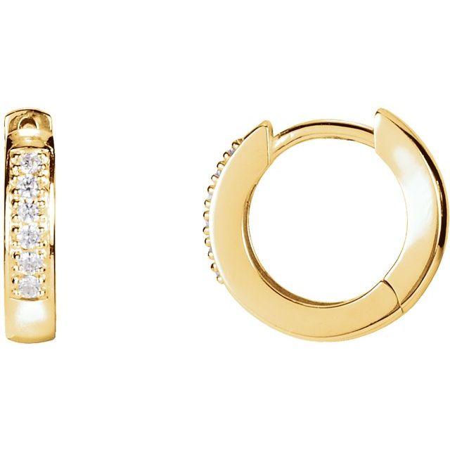 14K Yellow .08 CTW Diamond 12.5 mm Huggie Earrings