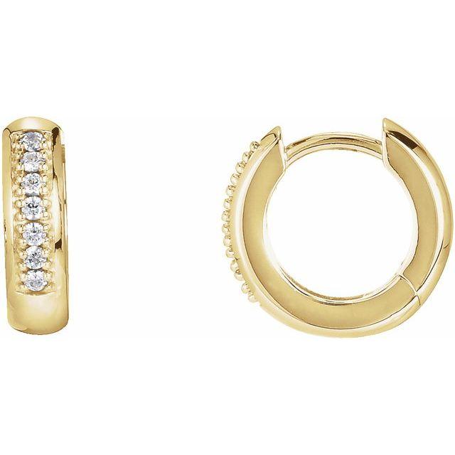 14K Yellow 1/8 CTW Diamond 12.6 mm Huggie Earrings
